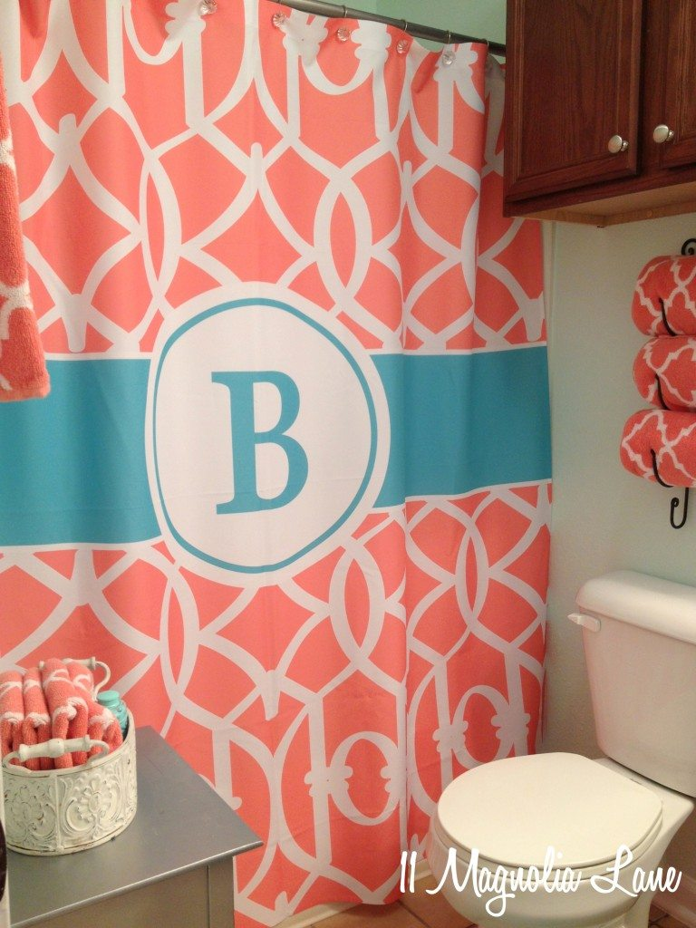coral-aqua-shower-curtain