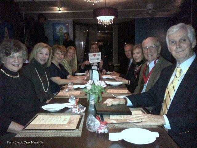 Dinner with (L to R) Jane Pressly, Carol Megathlin, Melanie Benjamin, me, Chris, Bill Megathlin, Linda Moore, Paul Pressly (author of On the Rim of the Caribbean)