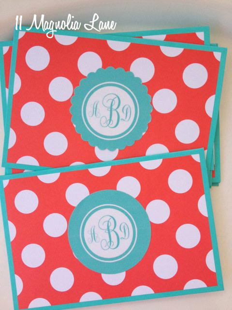 coral aqua polka dot diy monogram notecards stationery