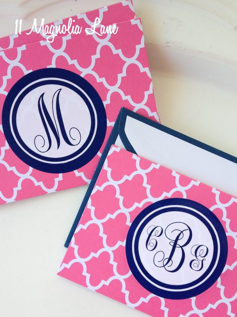 pink navy quatrefoil monogram diy notecards stationery
