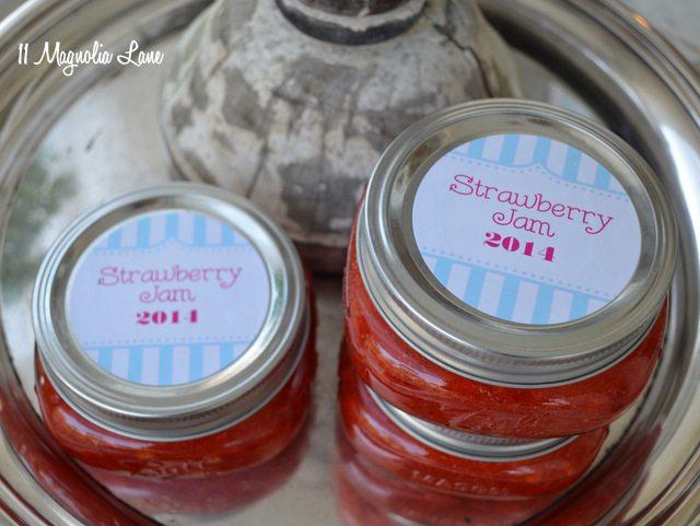 strawberry freezer jam blue red printable jar labels