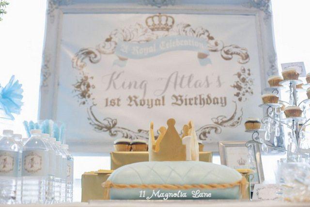 King Themed Frist Birthday Chalk Board Poster