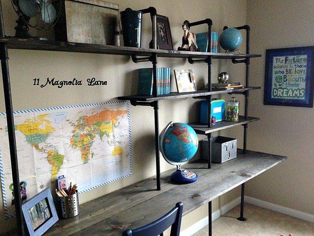 Diy Industrial Shelving Desk 11 Magnolia Lane