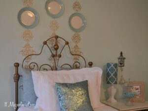 A Gold Stenciled Accent Wall in My Daughter's Bedroom PLUS A New Giveaway!