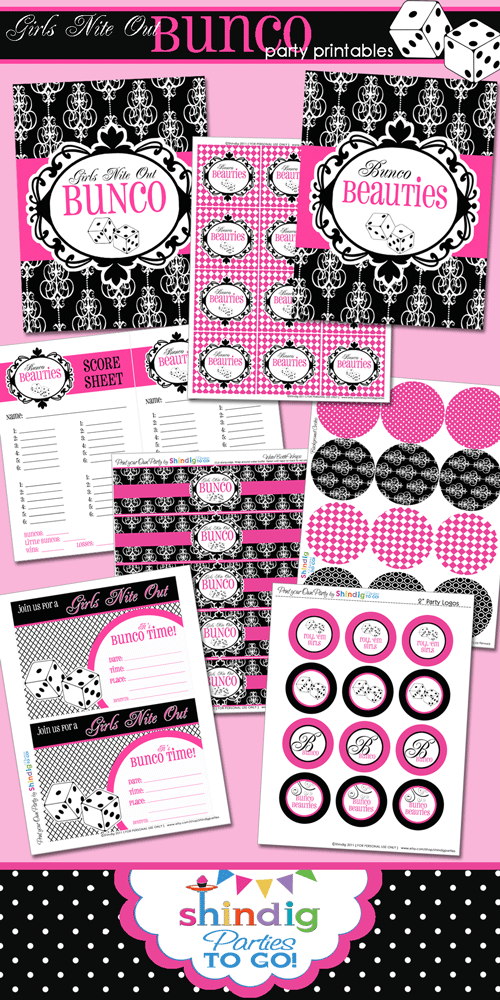 bunco party printables pink black white