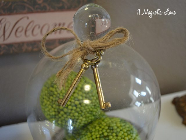 old keys as decoration glass cloche