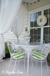 Green & White Striped Seat Cushions On the Patio