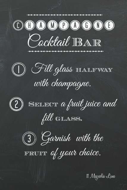image regarding Free Printable Mimosa Bar Sign called Very simple Pleasurable: Champagne Cocktail and Mimosa Bar (and