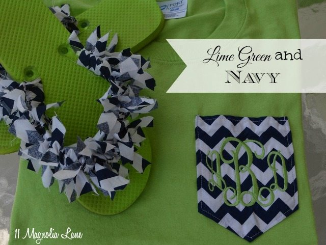 lime green and navy monogrammed T shirt