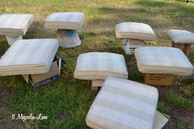 Outdoor Cushions Before Painting