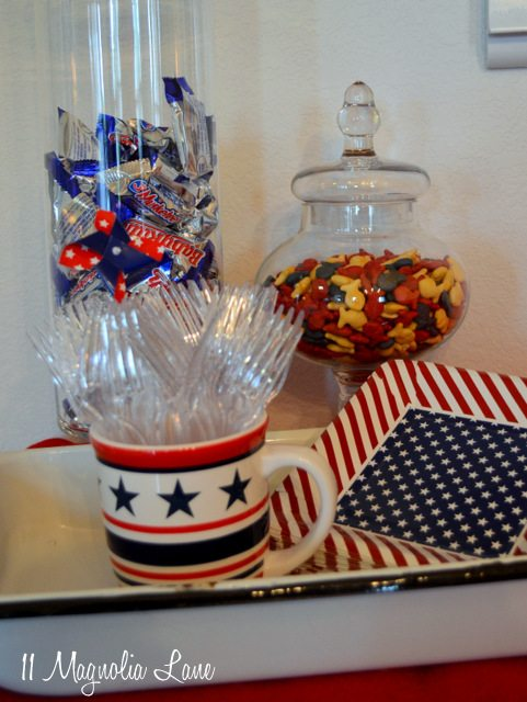 Red, white, & blue apothecary jars