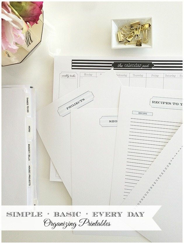 A complete collection of basic organizing printables to make your home management binder simple and easy to use. Complete printable set delivered by email (.pdfs) including menu planning, shopping, projects, party planner, things to do and recipes to try page.