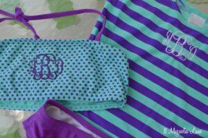 Monogrammed tween girls swim suit