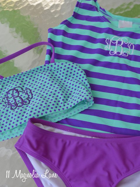 monogrammed girl's swimsuit
