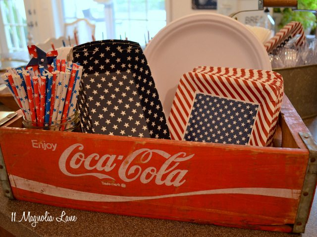 Wooden soda crate party decor
