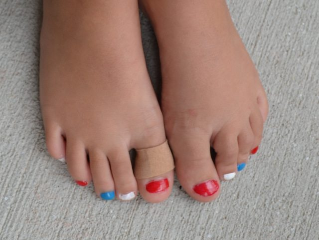 Red, white, and blue toes