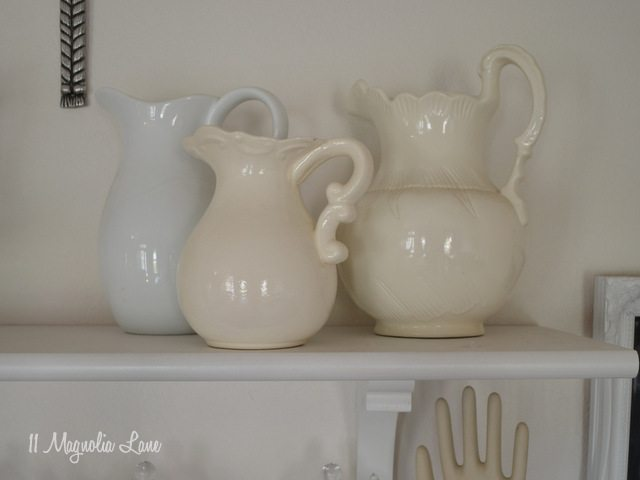 vintage white pitchers