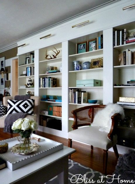 Bliss at Home DIY IKEA library wall
