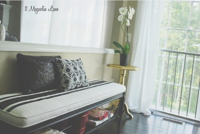 Black and White Bench Seat, Gold End Table