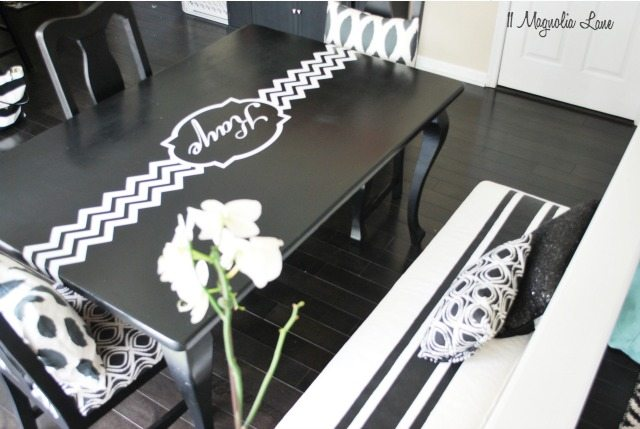 Black and White Bench with Table