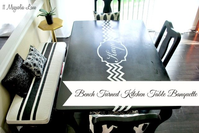 DIY Kitchen Table Banquette Using Chalk Paint, Decorative Pillows And Wire  Baskets