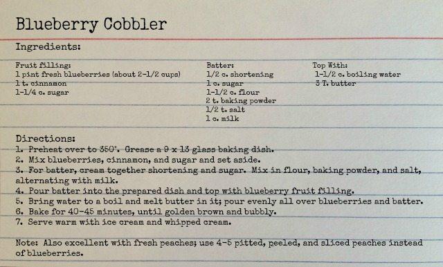 Homemade blueberry cobbler recipe
