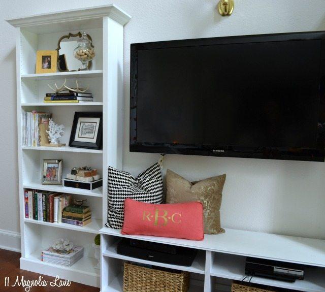 built in shelves living room. IKEA Billy built in shelves TV unit Our New Home  Tutorial on our DIY Built In Shelves 11 Magnolia Lane