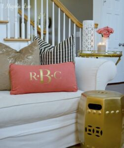 Golden garden stool in living room