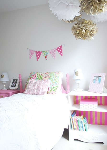 Little Girl S Room Decorated In Pink White Gold 11 Magnolia Lane