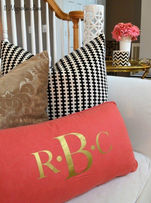 Coral black and white pillows | 11 Magnolia Lane