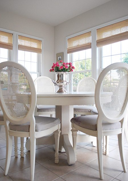 Breakfast/SunRoom with Neutral Decor and Natural Roman Shades