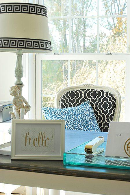 Home Office Makeover, Blue, Black, White & Gold