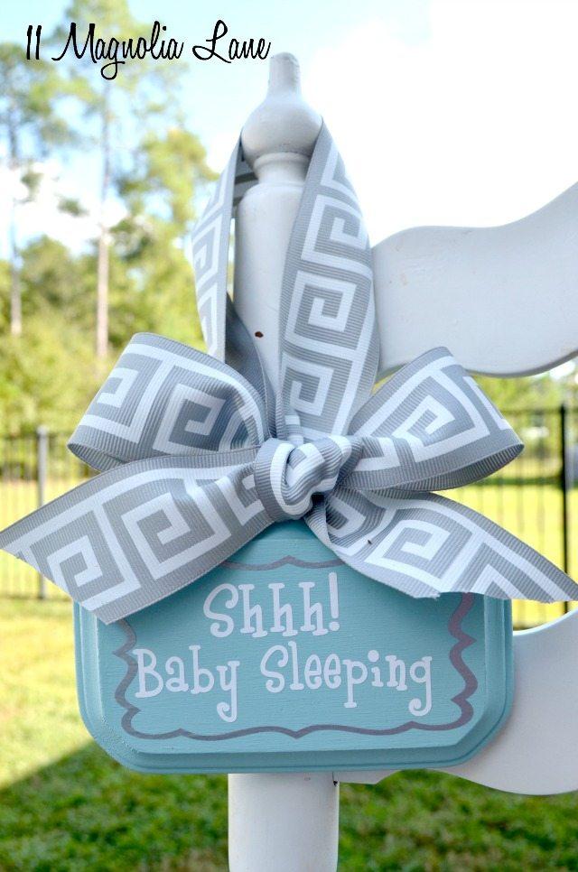 Aqua blue and grey baby sleeping sign   11 Magnolia Lane