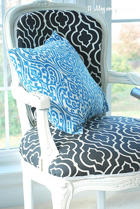chair desk with blue pillow