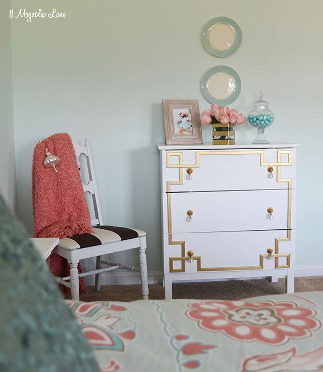 ikea dresser hack diy gold greek key furniture overlay. Black Bedroom Furniture Sets. Home Design Ideas