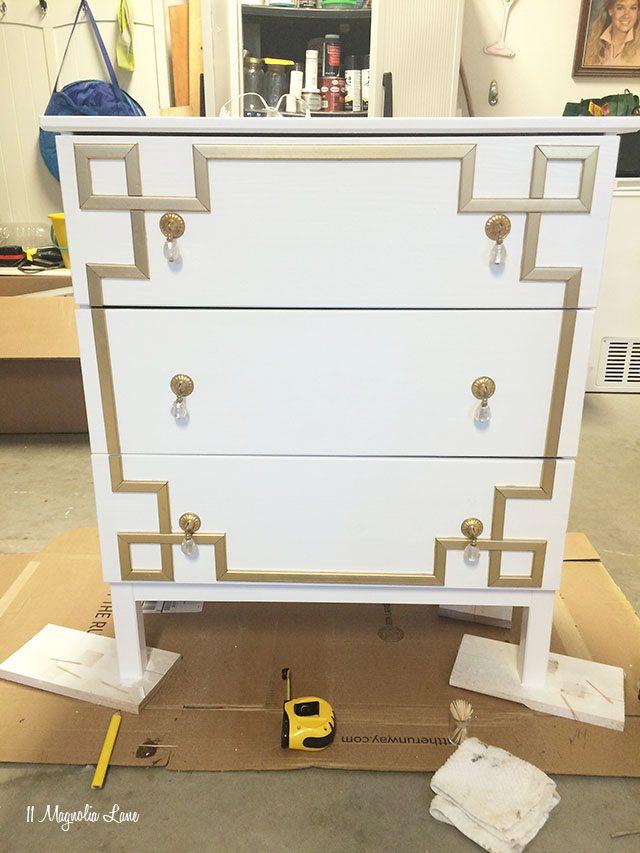 Marvelous DIY Greek Key Overlay On IKEA Dresser | 11 Magnolia Lane