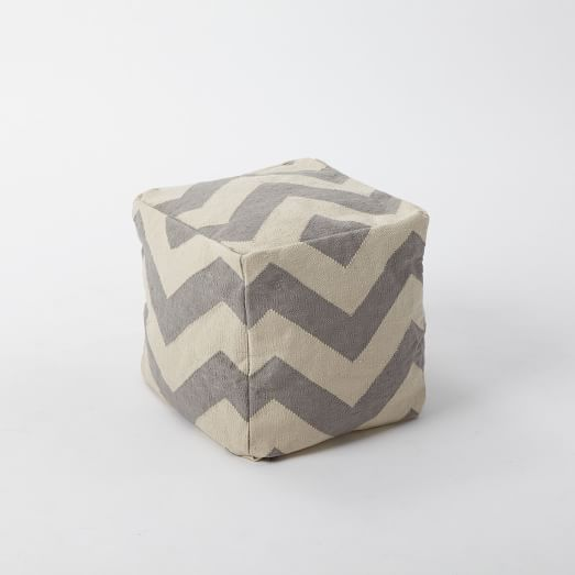 Gray chevron pouf from West Elm