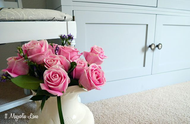 Gray chalk-painted armoire (repurposed entertainment center) | 11 Magnolia Lane