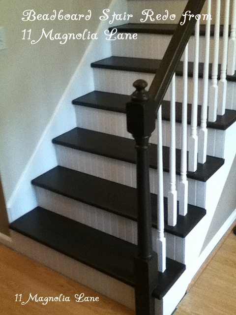 DIY stairs with painted treads and breadboard risers--tutorial at 11 Magnolia Lane