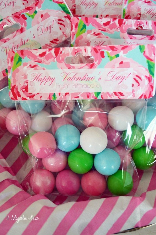 "Lilly Pulitzer inspired ""First Impressions"" Valentine's treat bags with gum balls 