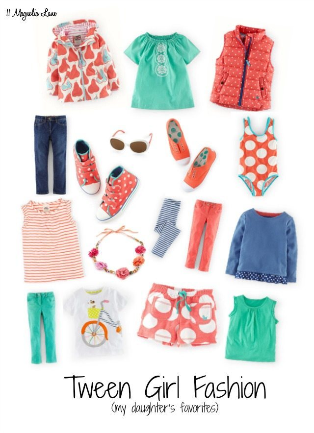 Tween girl fashion board in coral, aqua, and blue | 11 Magnolia Lane