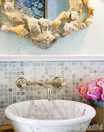 Carrara marble vessel sink