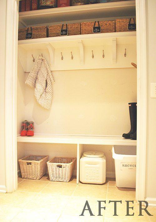 "Hall closet turned into a ""mudroom"" | 11 Magnolia Lane"