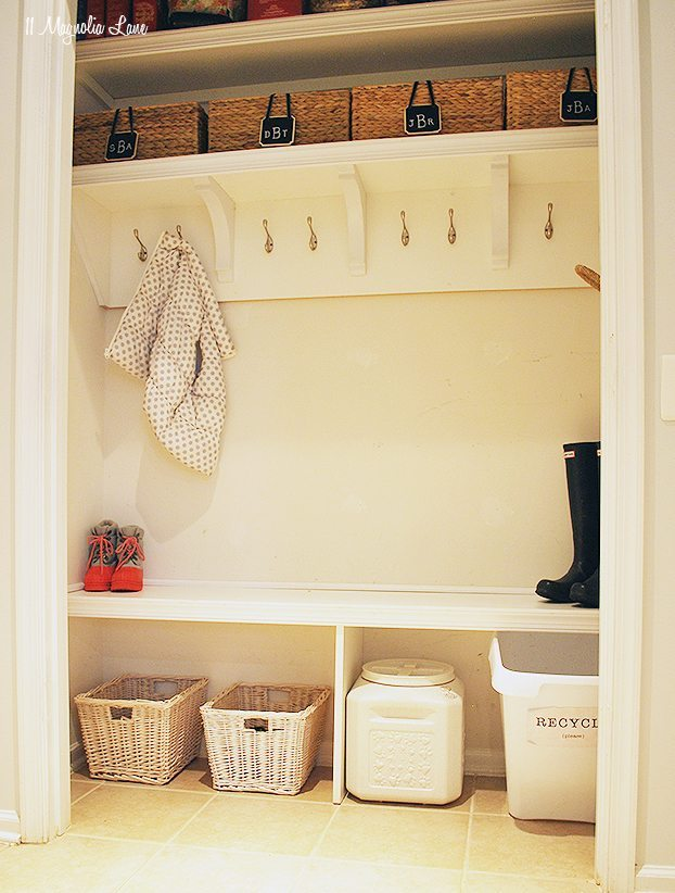 "Hall closet turned into a ""mudroom"" 