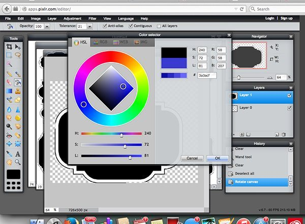 pixlr step 6 color picker REV