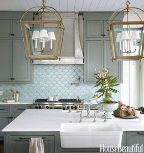 Beautiful kitchen in blues from Urban Grace Interiors | 11 Magnolia Lane