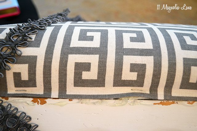 Grey Greek key footstool | 11 Magnolia Lane