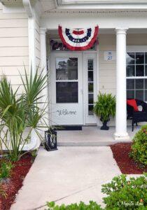 Red, white, and blue front porch decor   11 Magnolia Lane