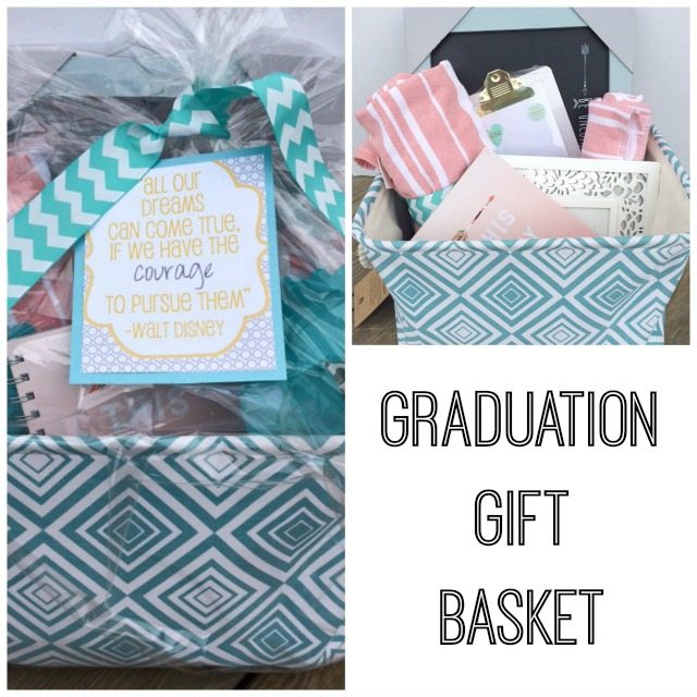 Fill a Homegoods storage basket with college essentials for an easy yet thoughtful gift for a Graduate.