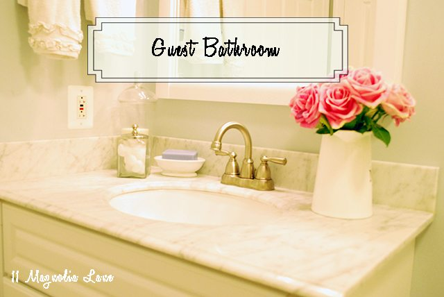 Small guest bathroom with pretty decor
